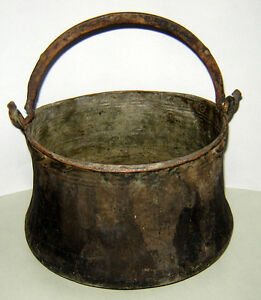 Antique Old 19c Large Copper Hand Hammered Handcrafted Cauldron Kettle Unique