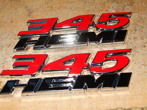 2x Oem Red 345 Hemi Emblem 345hemi Badge Decal 3d For Challenger Chrysle