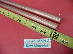 2 Pieces 1 2 C110 Copper Round Rod 24 Long H04 Solid Cu New Lathe Bar Stock