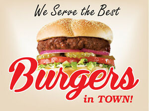 We Serve The Best Burgers In Town 24 x18 Large Hanging Counter Wall Food Signs