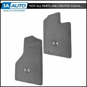 Oem Carpeted Floor Mats Embroidered Rams Head Gray Front Pair For Ram Pickup New