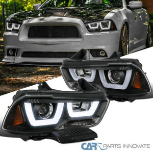 For 11 14 Dodge Charger Black Iced Led Projector Headlights Head Lights Lamps