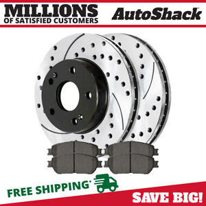 Front Drilled Slotted Rotors Ceramic Pads For 2005 2006 Camry 2004 2010 Sienna