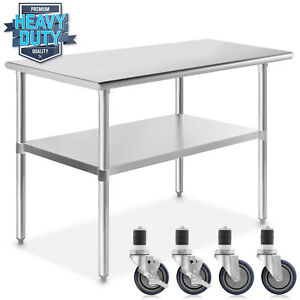 Stainless Steel Commercial Kitchen Work Food Prep Table W 4 Casters 24 X 48