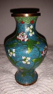 Chinese Cloisonne 5 X 3 25 Antique Vase In Blue 150601002