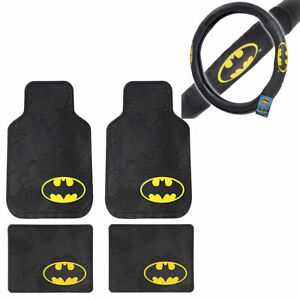 New 5pcs Batman Logo Car Truck Rubber Floor Mats Steering Wheel Cover Set