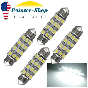 4x Super White 41mm Festoon Led Interior License Lights Bulbs 6413 6429 4410 578