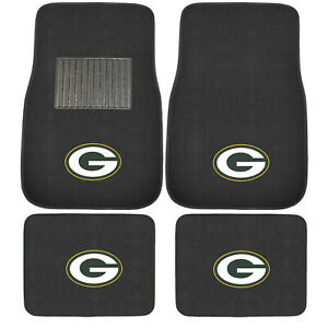 New 4pcs Nfl Green Bay Packers Car Truck Front Rear Carpet Floor Mats Set