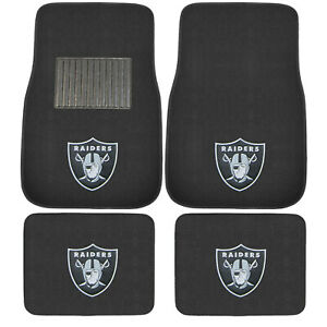 New 4pcs Nfl Oakland Raiders Car Truck Front Rear Carpet Floor Mats Set