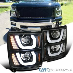 14 15 Chevy Silverado 1500 Pickup Black Halo Projector Headlights led Signal