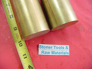 2 Pieces 2 C360 Brass Round Rod 10 Long Solid 2 00 Od H02 Lathe Bar Stock