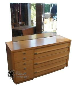 Mid Century Modern Oak 6 Drawer Bedroom Dresser W Mirror Vintage Chest Storage
