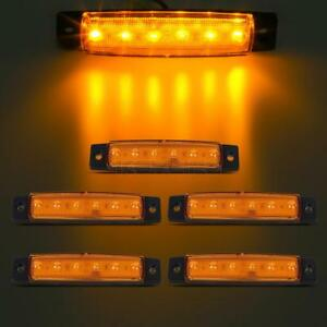 5x 6led Bus Van Truck Trailer Side Marker Indicators Lights Sealed Yellow 12v