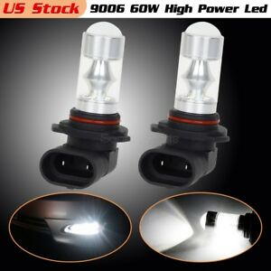 9006 Hb4 60w White 6000k Led Fog Light Driving Bulbs 2pcs