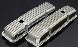 Sbc Sb Chevy 350 383 Short Retro Style Finned Valve Covers Aluminum S 6186