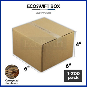 1 200 6x6x4 ecoswift Cardboard Packing Mailing Shipping Corrugated Box Cartons