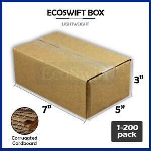 1 200 7x5x3 ecoswift Cardboard Packing Mailing Shipping Corrugated Box Cartons