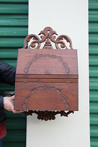 Nice Solid Walnut Victorian Wall Cabinet With Carvings Ca 1880