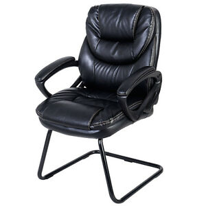 Goplus Black Mid Back Sled Base Guest Visitor Chair Office Desk Side Chair New