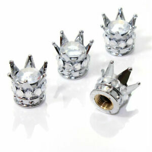 4 Chrome Silver Crown Clear Diamond Bling Tire Wheel Stem Valve Caps Car Truck
