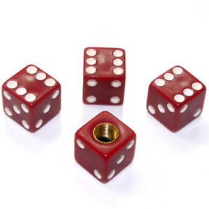 4 Burgundy Red Dice Tire Wheel Air Stem Valve Caps Covers For Car Truck Hot Rod