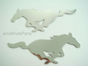2 Ford Mustang Stainless Steel Chrome Emblems Decals For Hood Trunk Fenders Etc