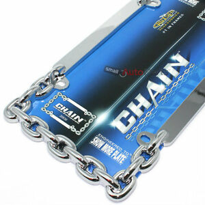 Show Chrome Chain License Plate Tag Frame For Auto Car Truck