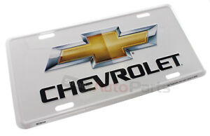 New Chevrolet License Plate Aluminum Stamped Embossed Metal Bowtie White Tag