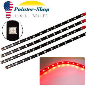 4x 12 30cm 5050 Red Flexible Led Light Strip For Car Motor Boat Waterproof 12v