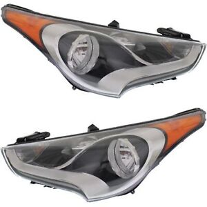 Headlight Set For 2012 2017 Hyundai Veloster Left And Right With Bulb 2pc
