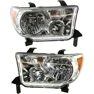 Headlight Set For 2007 2013 Toyota Tundra 2008 2016 Sequoia Lh Rh W Bulb