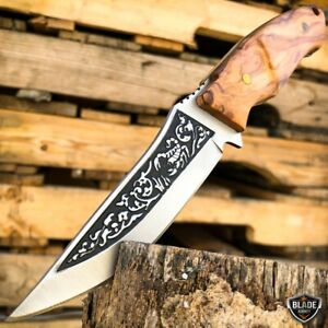 8.5quot; Hunting Tactical Fixed Blade Scorpion Etch Camping Knife w Wood Handle NEW $11.95