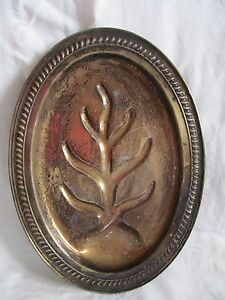 Vtg Sheridan Silver On Copper Meat Platter Tray Tree Of Life Footed Heavy