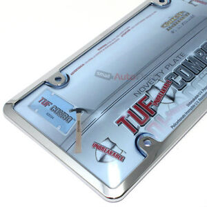 Chrome Plastic License Plate Tag Frame Blue Tinted Shield Cover For Car Truck