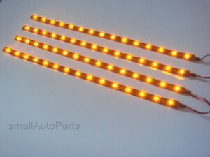 4x 12 Super Yellow Amber 1210 Smd Flexible Led 12v Light Strips For Car Truck