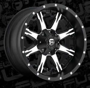 Fuel Nutz D541 20x10 5x5 5x135 Et 24 Black Machined Wheels Rims set Of 4
