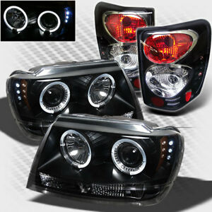 For 99 04 Jeep Grand Cherokee Halo Led Pro Headlights Tail Lamp Head Light