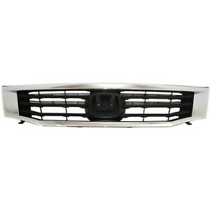 Grille For 2008 2010 Honda Accord Sedan Chrome Shell W Black Insert Plastic