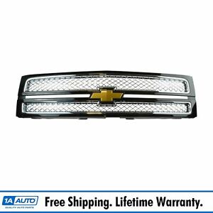 Oem Split Grille With Emblem Black 41u W Chrome Mesh For Chevy Pickup Truck Ltz
