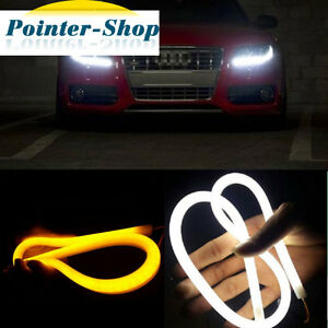Pair 12v 60cm Dual Color White Yellow Led Tube Strip Headlight Drl Running Light