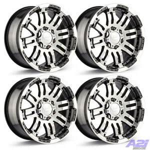 Set 4 17 Vision 375 Warrior Black Machined Rims 17x8 5 6x4 5 Dodge Dakota 6 Lug