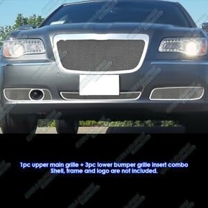 Custom Fits 2011 2012 Chrysler 300 300c Stainless Steel Mesh Grill Combo