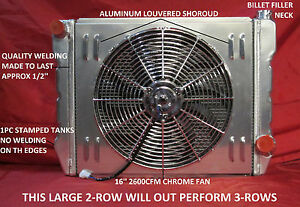 26 X 19 Gm Chevy Universal Aluminum Cross Flow Radiator W shroud Fan