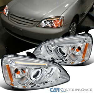 For 01 03 Honda Civic 2 4dr Led Halo Rings Projector Headlights Lamps Left right