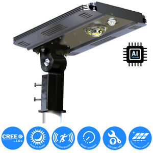 Solar Cree Led Outdoor Motion Sensor Street Post Parking Security Flood Light