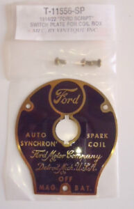 Ford Model T Auto Synchron Spark Coil Box Brass Switch Plate 1914 1922