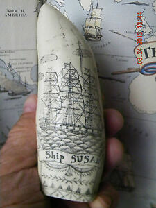 Scrimshaw Sperm Whale Tooth Resin Replica Susan 6 Inches Long Very Detailed