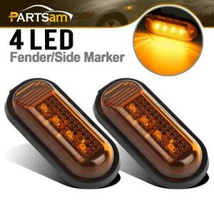Set2 Flat Style Amber Side Marker Turn Signal Fender Light 4led Sealed For Honda