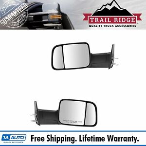 Trail Ridge Towing Mirror Power Textured Flip Up Pair Set Of 2 For Dodge Ram New