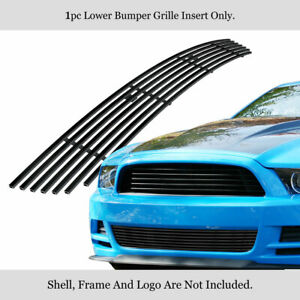 Fits 2013 2014 Ford Mustang Gt Black Lower Bumper Billet Grille Insert